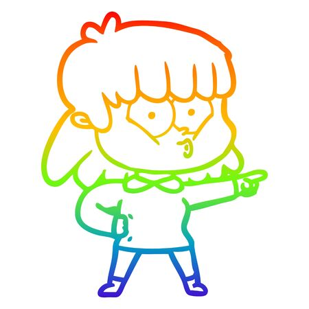 rainbow gradient line drawing of a cartoon whistling girl Ilustrace