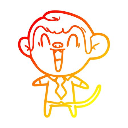 warm gradient line drawing of a cartoon laughing monkey Çizim