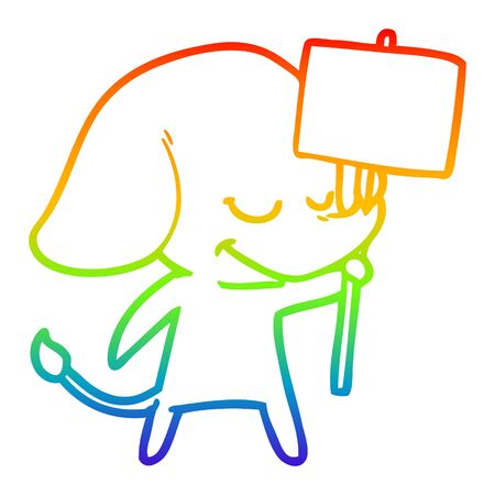 rainbow gradient line drawing of a cartoon smiling elephant with placard Çizim