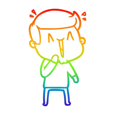 rainbow gradient line drawing of a cartoon excited man Ilustrace