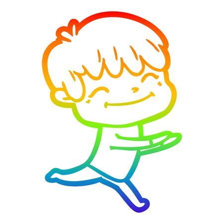 rainbow gradient line drawing of a cartoon happy boy
