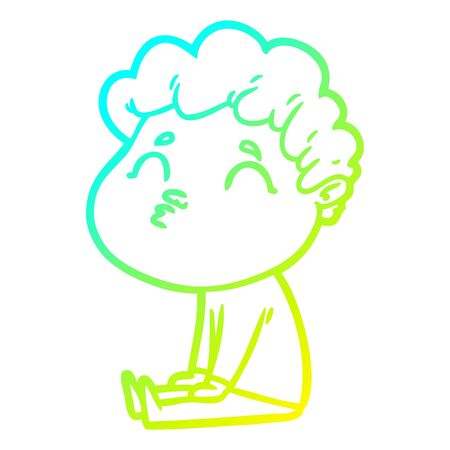 cold gradient line drawing of a cartoon man pouting Ilustrace