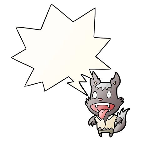 cartoon halloween werewolf with speech bubble in smooth gradient style