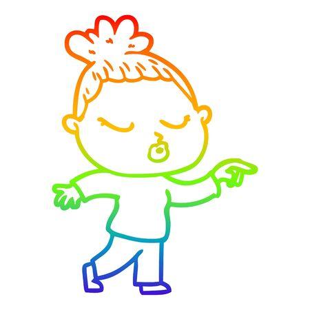 rainbow gradient line drawing of a cartoon calm woman