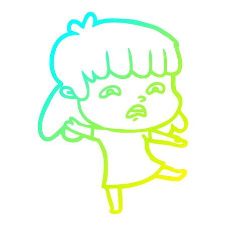 cold gradient line drawing of a cartoon worried woman
