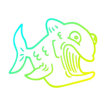 cold gradient line drawing of a funny cartoon fish