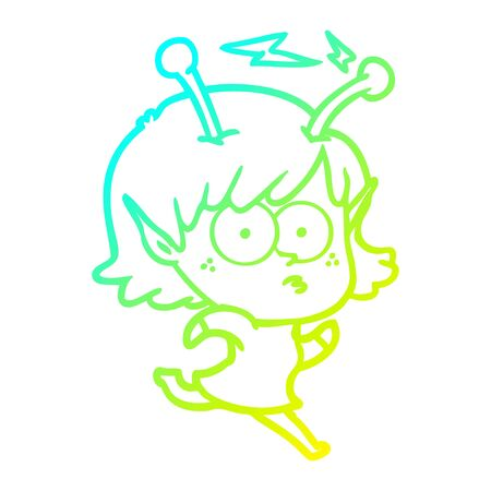 cold gradient line drawing of a cartoon alien girl