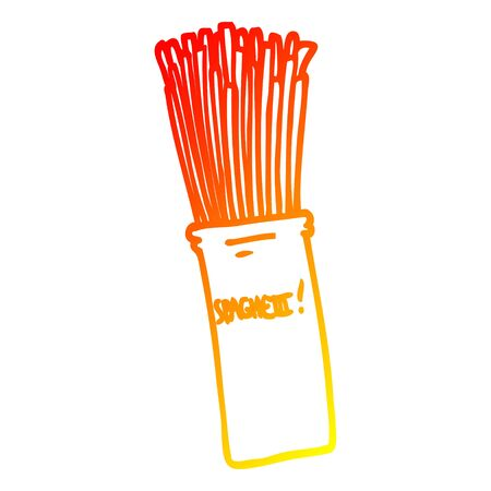 warm gradient line drawing of a cartoon  jar of spaghetti