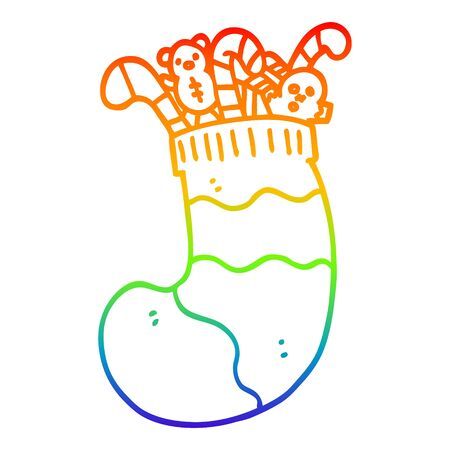 rainbow gradient line drawing of a cartoon christmas stocking