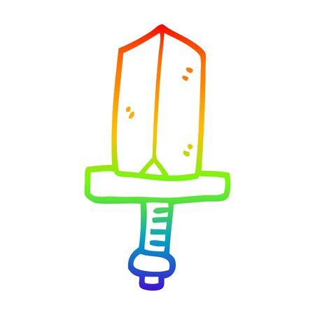 rainbow gradient line drawing of a cartoon gold dagger 写真素材 - 129256170