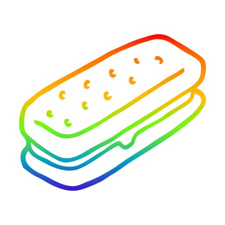 rainbow gradient line drawing of a cartoon chocolate biscuit