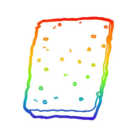 rainbow gradient line drawing of a cartoon biscuit Ilustracja