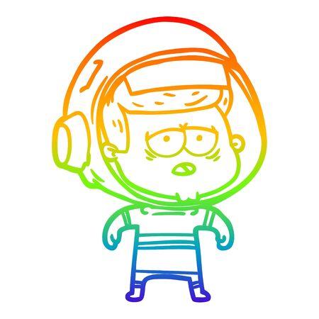 rainbow gradient line drawing of a cartoon tired astronaut Ilustrace