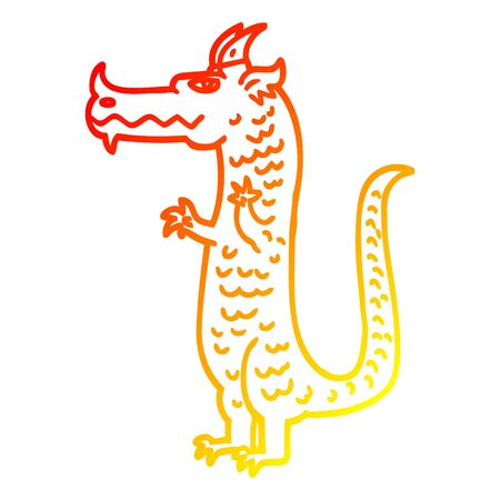 warm gradient line drawing of a cartoon dragon Illustration