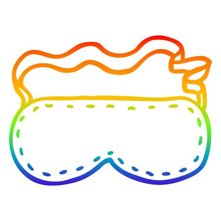 rainbow gradient line drawing of a cartoon sleeping mask