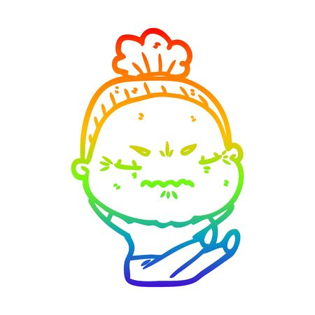 rainbow gradient line drawing of a cartoon annoyed old lady Ilustracja