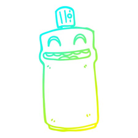 cold gradient line drawing of a cartoon spray can Ilustração
