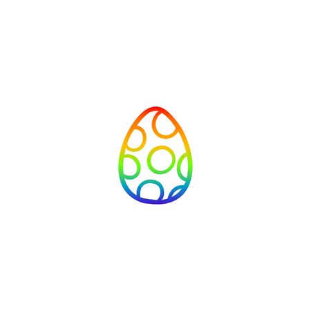 rainbow gradient line drawing of a cartoon painted easter egg