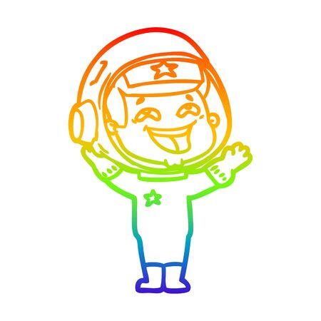 rainbow gradient line drawing of a cartoon laughing astronaut Ilustracja