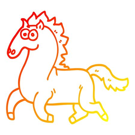 warm gradient line drawing of a cartoon running horse Illustration