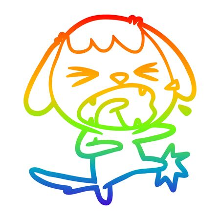rainbow gradient line drawing of a cute cartoon dog barking Ilustracja
