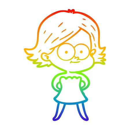 rainbow gradient line drawing of a happy cartoon girl
