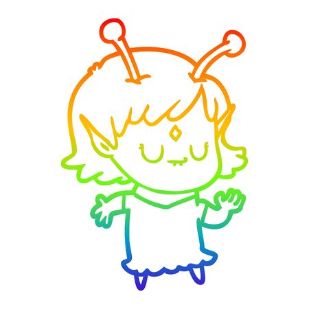 rainbow gradient line drawing of a cartoon alien girl dancing