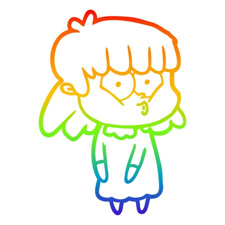 rainbow gradient line drawing of a cartoon whistling girl Ilustracja