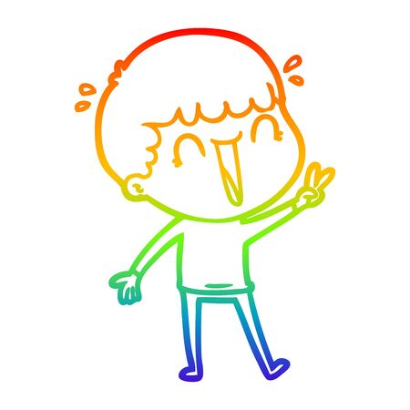 rainbow gradient line drawing of a laughing cartoon man
