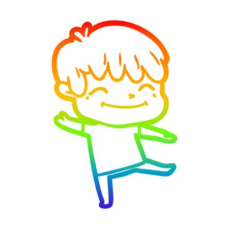 rainbow gradient line drawing of a happy cartoon boy Ilustracja