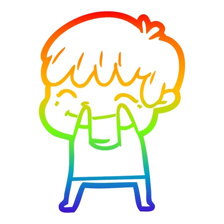 rainbow gradient line drawing of a cartoon happy boy
