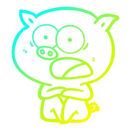 cold gradient line drawing of a shocked cartoon pig sitting down