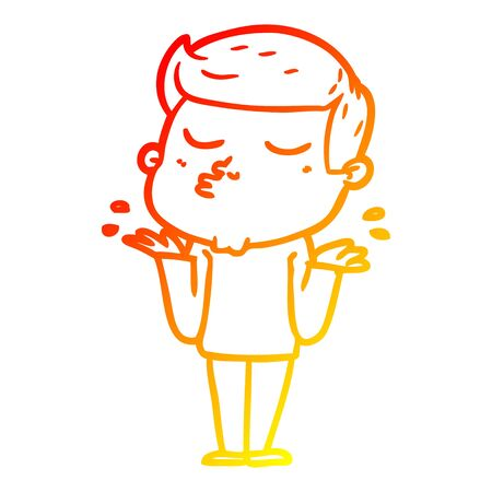 warm gradient line drawing of a cartoon model guy pouting Ilustracja