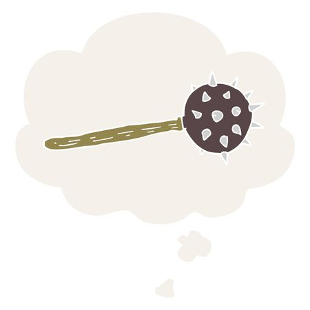 cartoon medieval mace with thought bubble in retro style Illustration