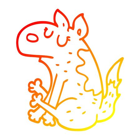 warm gradient line drawing of a cartoon dog sitting