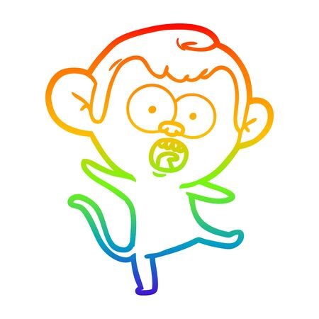 rainbow gradient line drawing of a cartoon shocked monkey