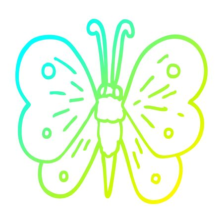 cold gradient line drawing of a cartoon butterfly