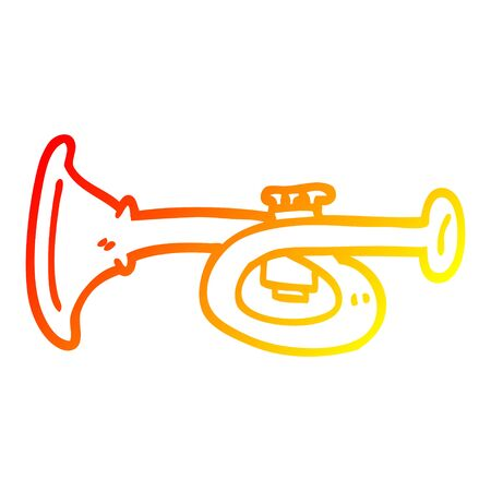 warm gradient line drawing of a cartoon metal trumpet