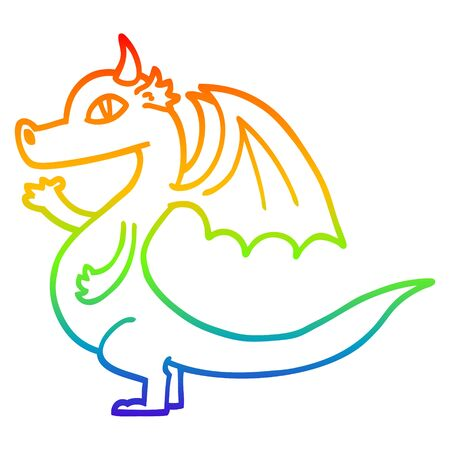 rainbow gradient line drawing of a cute cartoon dragon