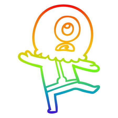 rainbow gradient line drawing of a cartoon cyclops alien spaceman Ilustracja