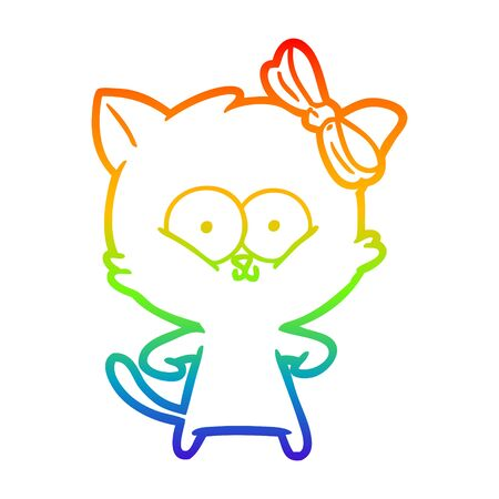 rainbow gradient line drawing of a cartoon cat Ilustracja
