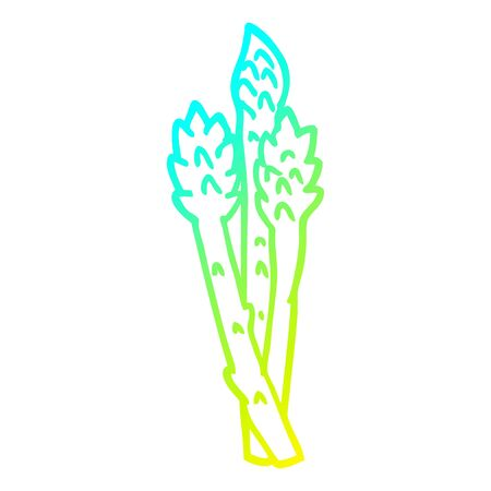cold gradient line drawing of a cartoon asparagus plant