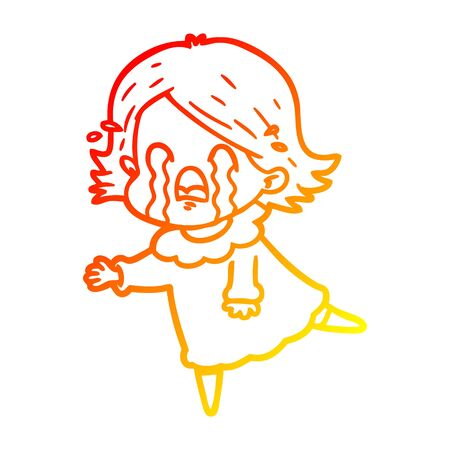 warm gradient line drawing of a cartoon woman crying  イラスト・ベクター素材