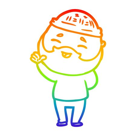 rainbow gradient line drawing of a cartoon happy bearded man