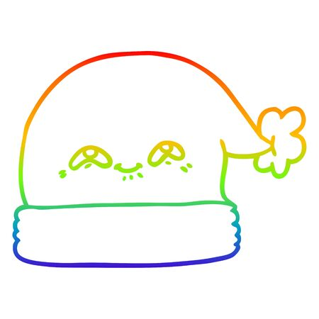 rainbow gradient line drawing of a cartoon christmas santa hat