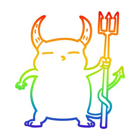 rainbow gradient line drawing of a cartoon little devil