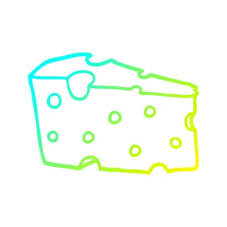 cold gradient line drawing of a cartoon cheese Foto de archivo - 129256363