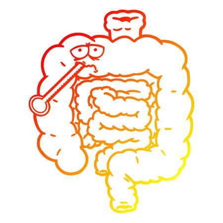 warm gradient line drawing of a cartoon unhealthy intestines Ilustracja
