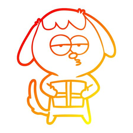 warm gradient line drawing of a cartoon bored dog with christmas present