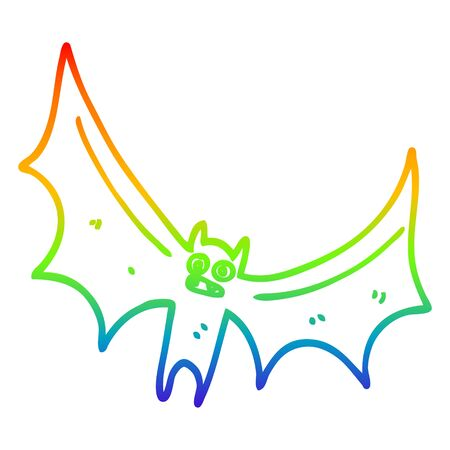 rainbow gradient line drawing of a cartoon bat Ilustracja
